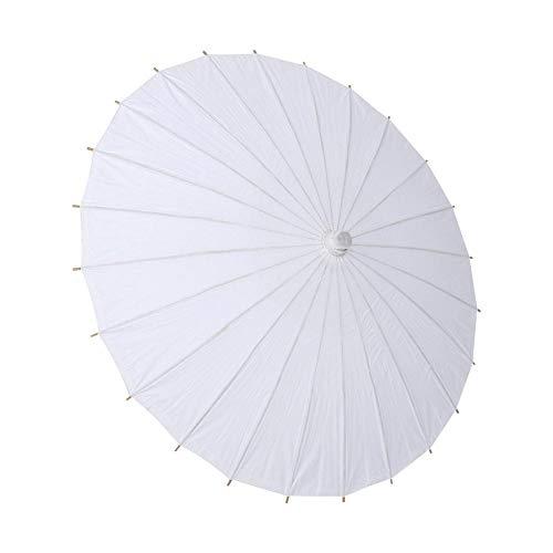 Zerodis Papier Regenschirm Sonnenschirm Tanz Fotografie Kunst Zubehör Party Dekoration Weiß(Halbmesser42cm)