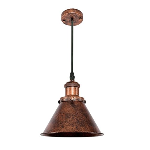 Métal Loft Aike Décoration Rouge Industriel Ovale E27 Vintage Rétro Nostalgie Lampe Hauteur Antique Design Réglable Pendentif orCBexd
