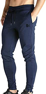 BROKIG Mens Zip Joggers Pants - Casual Gym Workout Track Pants with Pockets