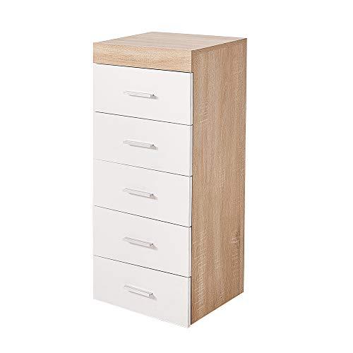 Ruication Kommode Sideboard 4 große Schubladen und 2 halbe Schubladen Aufbewahrungsschrank Kunststoff Silbergriffe Schließfächer für Schlafzimmer Wohnzimmer Flur Bad Küche Büro, 5 Drawers -
