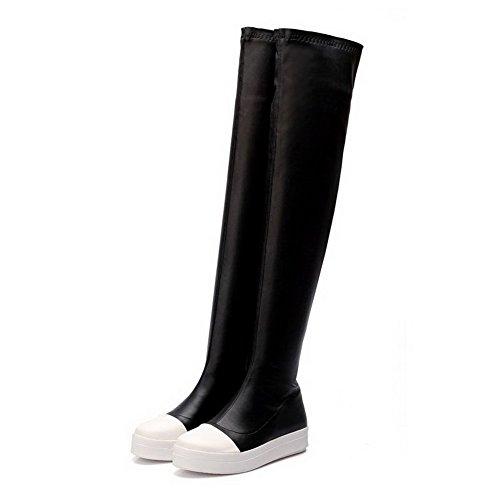 AgooLar Damen Gemischte Farbe Niedriger Absatz Rund Zehe Stiefel mit Metallisch, Braun, 36