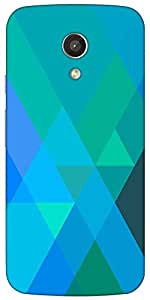 Snoogg Blue Rhombuses Case Cover For Motorola G / Moto G 2Nd Generation