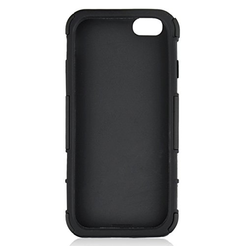 Phone case & Hülle Für iPhone 6 Plus / 6S Plus, 2 in 1 Split Sliding Silikon + Kunststoff Kombi-Gehäuse mit Halter ( Color : Black ) Black