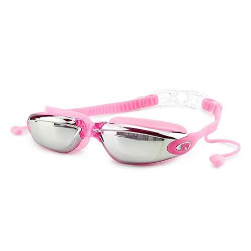 DZH Brille wasserdichte Antibeschlag-Schwimmbrille Männer und Frauen Große Schutzbrille Mit Ohrenstöpsel-Brille Mit Ohrenstöpsel + Nasenklammer, Anti-UV-Antibeschlag, Silikon-Schwimmbrille-Set, Pink -