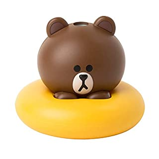Line Friends Brown Adjustable Ultrasonic Mist USB Mini Humidifier | Easily Used in Combination with Bottled Water, Cup, Tumbler and automatic OFF function (50cc/hr) on Home, Office, Spa, Bedroom