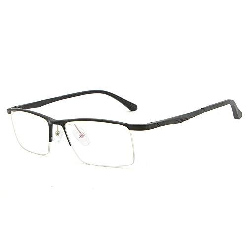 Rahmen Ultraleichter, Blauer, Flacher Spiegel Optische Metallhalbrahmen-Brillen Rahmen Aluminium-Magnesium-Brillen Brille (Color : Schwarz, Size : Kostenlos)