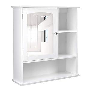 VASAGLE Spiegelschrank fürs Bad, Badschrank, Wandschrank mit höhenverstellbarer Regalebene, Badezimmerschrank mit 3…