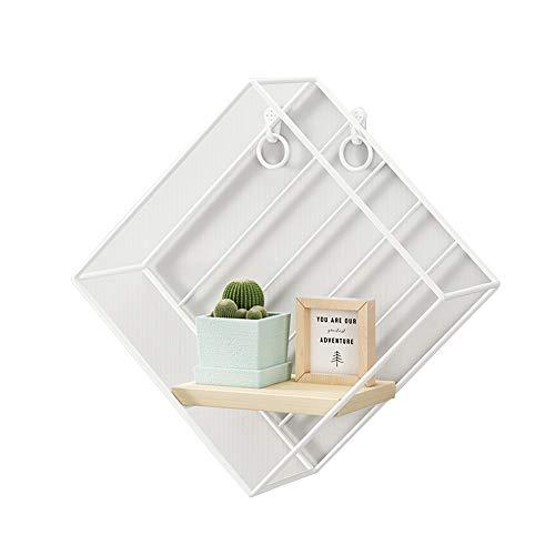 HUO Rechteckige Wandrahmeneinheit Hölzernes Und Schwarzes Metall Rahmen Küche Schlafzimmer Wohnzimmer-dekoratives Turm-Regal (Color : White) -