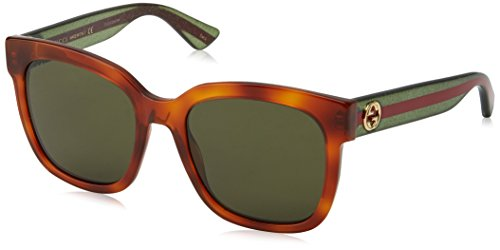 Gucci Damen GG0034S 003 Sonnenbrille, Braun (Avana/Green), 54