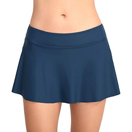 FEOYA Damen Badeshorts Bikinihose Rock Shorts Trunks 2019 Badeanzug Bauchweg Badekleid Mit Integrierter Hose Mini Bikini Takini Baderock Beachwear Blau M -