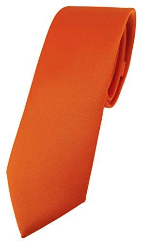 TigerTie schmale Designer Krawatte in orange einfarbig Uni - Tie Schlips