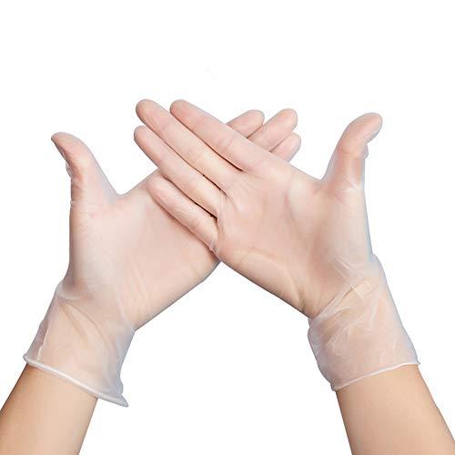 YFZYT 100 Stück PVC Transparent Einweghandschuhe Vinyl Handschuhe Plastik Disposible Gloves Puderfrei für Kochen, Reinigen, Lebensmittelhandling, Haare - Sterben Hausarbeit Küchenarbeiten schmutzigen Arbeite täglicher Gebrauch - Durchsichtig, M -