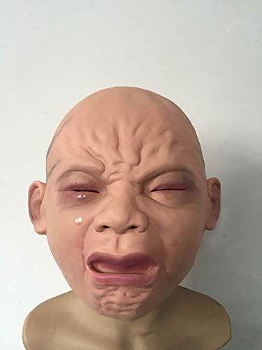 Lebensecht Weinende Babymaske Vollkopf Weinende Gesicht Puppe Maske Wig Halloween Bar Geheimen Raum Heimgesuchte Haus Horrormaske