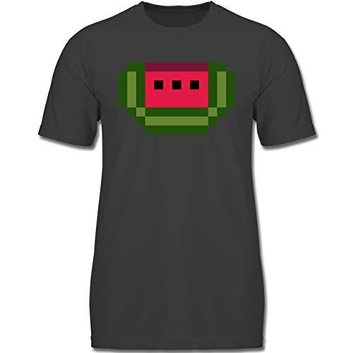 Karneval & Fasching Kinder - Pixel Melone - Karneval Kostüm - 152 (12-13 Jahre) - Anthrazit - F130K - Jungen Kinder T-Shirt (Lustige Kostüm Für Zwei Jungs)