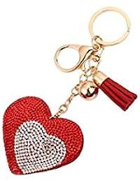 Banggood ELECTROPRIME Bag Keychain Bling Bling Key Ring Charm Decor Car Pendant Red