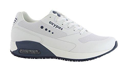 Oxypas Sport, Berufsschuh Justin, antistatischer (ESD) Leder Sneaker für Herren (41, weiß - dunkelblau)