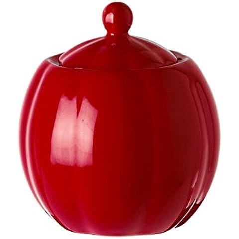 La Porcellana - Zuccheriera con coperchio P00021300R, colore: rosso, capacità: 300 ml