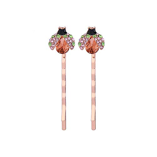 QYMX Ohrring-Frauen, vorzügliche Bunte Kristallemail-Insekten-Haarspangen für Frauen u. Mädchen-Partei-Geschenke Rose Gold Color Fashion Jewelry Accessory