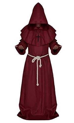 Priester Kostüm Rote Der Robe - Windtor Unisex Kapuzenumhang Mittelalter Priester Robe Mönch Mork Robe Zauberer Pastor Halloween Kostüm Gr. Medium, rot