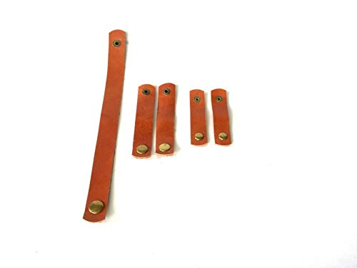 Cratly Multipurpose Leather Taco Cable with Iron Button (Multicolour, 5X1-inch, 3X1-inch, 2X1-inch) -5 Pieces