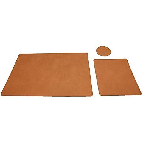 Escritorio funda de piel de material reciclado con forma de Protector Marco de juego de platillos para taza molde redondo para-Marrón 42 x 29,5 cm
