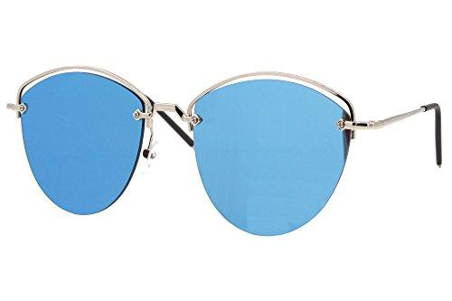 Cheapass Sonnenbrillen Cat-Eye Silber Blau Verspiegelt Groß Oversized XXL UV-400 Designer-Brille Metall Frauen Damen Mädchen