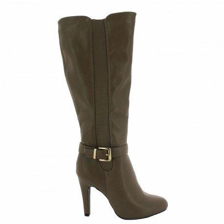 Ideal Shoes - Bottes en similicuir avec bandes élastiques et ceinturon Rose Taupe