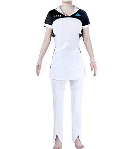 qingning Damen Detroite Become &Humann Kara PU Kleid Dress Cosplay Kostüme Sexy Abendkleid Skirt Spiel Halloween Bekleidung (Top+Bluse+Armbinde, Large)