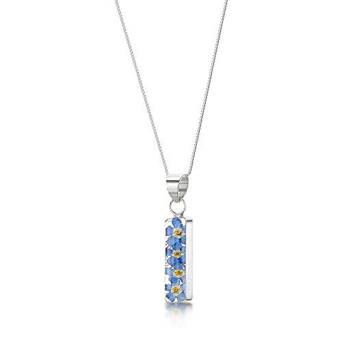 Shrieking Violet: Kettenanhänger - blaue Vergissmeinnicht - lang - 925 Sterling Silber - 45 cm Kette