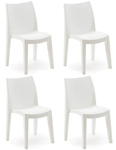 4Stück Sessel Stuhl Lady aus hartem Harz Fake Rattan Weide weiß (Weiß Harz-stühle)