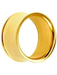 Treuheld®   Goldener Flesh Tunnel - 20 Größen: 1.6 - 30mm - Superdünner Rand - kein Gewinde - double Flare Piercing Ohr Tunnel aus goldenem Chirurgenstahl 316L (nickelfreier Edelstahl) - dünn & gold