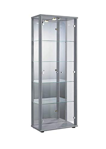 Markenlos Glasvitrine Sammlervitrine Vitrine LED beleuchtet Schloß Spiegel Weiss Schwarz Silber (Silber) (Glas Schrank)
