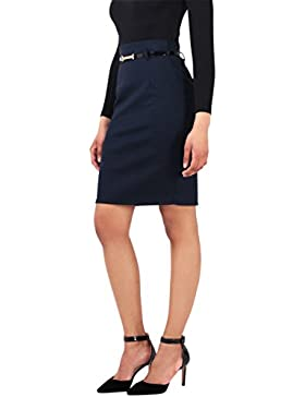 KRISP Falda Mujer Azul Marino Gris Corta Cintura Alta Tubo Elástica Uniforme