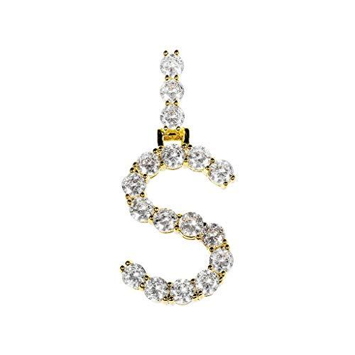Frauen Hip Hop 1 Reihe 5mm18 Zoll Legierung Halskette + Brief Anhänger Kette Strass Halskette Brief Anhänger Necklace Letter Pendant Halsband Halsketten Schmucksachen ()
