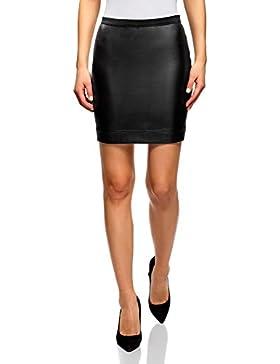 oodji Ultra Mujer Falda de Piel Sintética con Cinturón Elástico