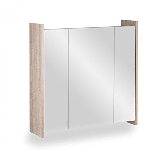 Galdem FROSTI Spiegelschrank 70cm Badezimmerschrank Wandschrank Badmöbel 3 Spiegeltüren 6 Einlegeböden (Sonoma OAK)