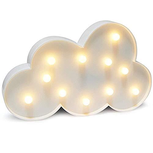 Dekorative Lichtschild Wandleuchte,KINGCOO LED Batteriebetriebene Kunststoff Nachtlicht Stimmungslicht Schreibtischlampen für Babyzimmer Kinderzimmer Geschenke(Wolke Symbol-weiß) -