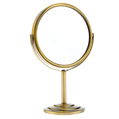 B Baosity 6'' Doppelseitig Makeup Spiegel Kosmetikspiegel Schminkspiegel mit 2-facher Vergrößerung und 360° Schwenkfunktion - Bronze