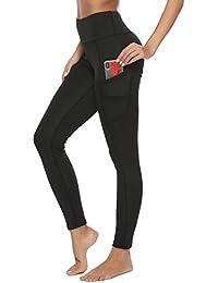 Pantalon de Sport Femme Legging de Sport Yoga Jogging Fitness Running  Elastiques Stretch avec Poches Fitness Gym Taille Haute Gaine… 87c997db63b