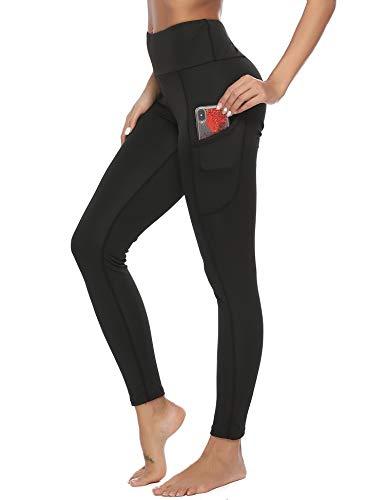 Pantalon de Sport Yoga Legging Femme avec Poches Fitness Gym Taille Haute Gaine Large, Noir, S