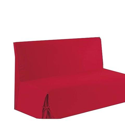 HomeMaison.com HM69451652 Housse de Clic-Clac à Nouettes Coton/Polyester Rouge 200 x 140 cm