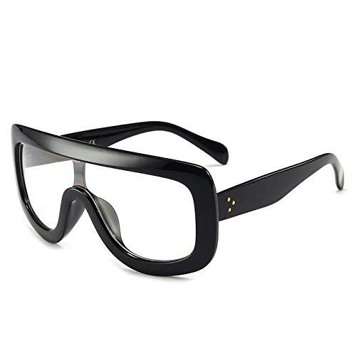 Yangjing-hl Siamese Oversized Box Sonnenbrille Damen Sonnenbrille Sonnenbrille Persönlichkeit Sonnenbrille, Black Frame White Flat, Einheitsgröße
