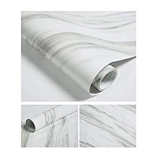 JLCorp Pure White Pure Black Grain Wood Textured Contact Paper Vinyl Film Self-Adhesive Wallpaper Shelf Liner Drawer Liner Peel-Stick Countertop Sticker (Jazz White)