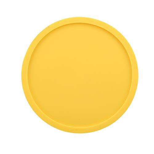 SUNSKYOO Getränk Untersetzer Silikon Runde Rutschfeste Soft Easy Clean Home Tabletop Protector Pad, gelb