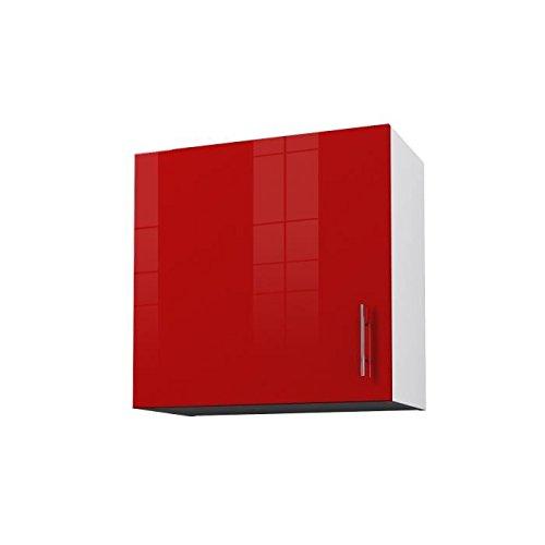 OBI Caisson haut de cuisine avec 1 porte L 60 cm - Blanc et rouge laqué brillant