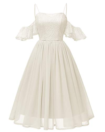 KT SUPPLY Damen Kleid Festlich Knielang Elegant für Hochzeit Chiffon Abschlusskleid Ballkleid...