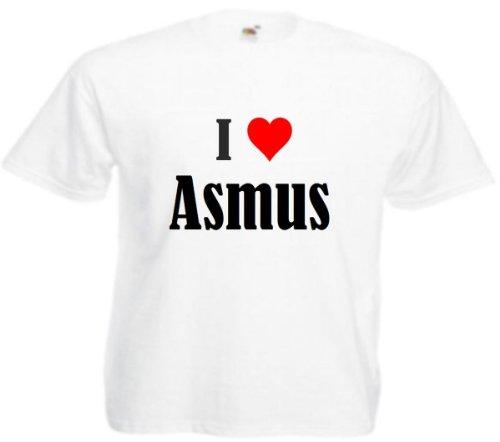 """T-Shirt """"I Love Asmus"""" für Damen Herren und Kinder ... in der Farben Schwarz Weiss und Pink Rosa Weiß"""