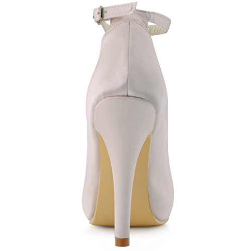 Elegantpark EP11049-IP Inner Plateforme bout ferme Confort Pompes Haut Satin Boucle Chaussures de Mariee Beige