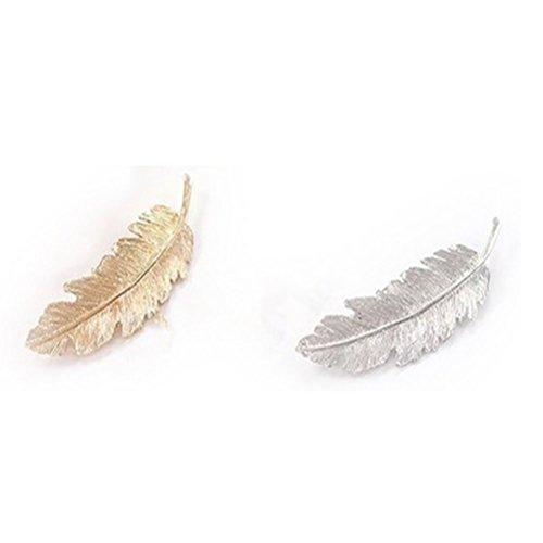 NUOLUX Épingle à cheveux 2pcs feuille plume Design Clip broche griffe Barrettes Accessoires cheveux (argent doré)