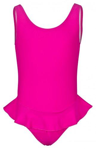 tanzmuster Mädchen Badeanzug Einteiler 'Arielle' mit Röckchen in pink. Süßes Ballerina Badeanzugkleid für Kinder und Kleinkinder in Größe 128/134